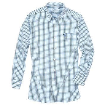 University of Kentucky Gameday Tattersall Sport Shirt in Blue by Southern Tide