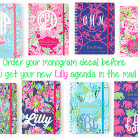 Lilly Pulitzer Monogram Sticker For Agendas, Laptop Monogram, Vinyl Monogram, Car Monogram, Personalized, Water Bottle Decal,Cooler Monogram