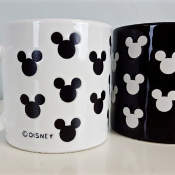 Vintage Black White Mickey Mouse Mugs Disney, Set of 2 Vintage Disney Mickey Mugs, Mickey Black White Silhouette Mugs, Disney Collectibles