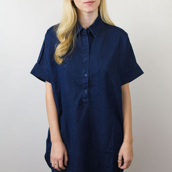 Short Sleeve Collared Shift Dress