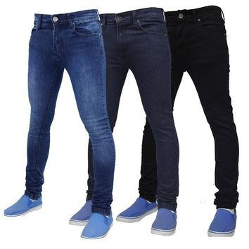 3 Colors Men Slim Jeans Autumn and Winter Skinny Jeans Pants Casual Pencil Denim Long Pants Men Trendy Brief Jeans Trousers Plus