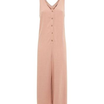 Pale Pink Linen-Look Button Front Cropped Jumpsuit | New Look