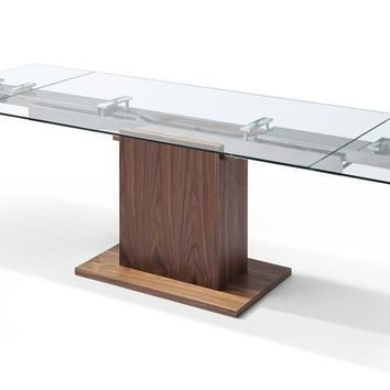 Pilastro Extendable Dining Table 10mm tempered clear glass top stainless steel frame