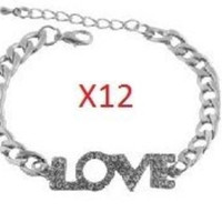 12 Pieces of Silvertone with Clear Iced Out Love Print Adjustable Cuban Chain Link Bracelet