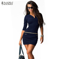 Zanzea Spring 2016 Sexy Womens Bodycon Dress V-neck Half Sleeve Casual Package Hip Ladies Mini Dresses Vestidos Plus Size S-4XL