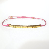 Hot Pink Cord Bracelet, Gold Bead Bracelet, Friendship Jewelry, String Jewellery