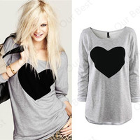 Gray Heart Print Long Sleeve Casual Top