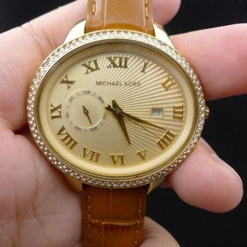 New Old Stock MICHAEL KORS Whitley MK2428 Date Leather Strap Quartz Women Watch
