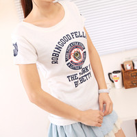 Spring Comfy Text Round Neck Short Sleeves Tee