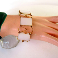 Bracelet White Panel Link Trimmed In Gold Tone Wire Metal Vintage Collectible Item 2393
