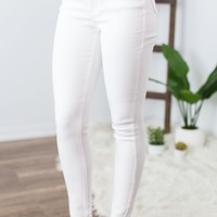 Kan Can High Rise White Skinny