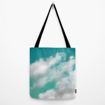 Mint Sky 3 - Tote Bag, White Cloud Ombre Style Print Pattern, Bohemian Beach Chic Market Shopping Shoulder Bag Tote in 9x9 13x13 16x16 18x18
