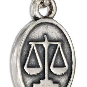 Sterling Silver Oval Scales Of Justice Lawyer Charm
