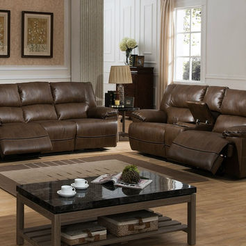 Dwayne Reclining Sofa and Loveseat w/ Storage Console, 2-Piece Set