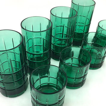 Complete set of 8 Emerald Green Anchor Hocking Tartan Drinking Glasses Tall Short Teal Ice Tea Glasses Retro 60s Auqa Barware Mixed Drinks