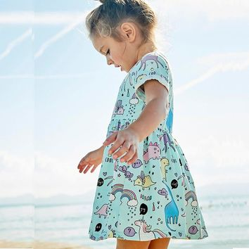 Girls Summer Dresses 2018 Animals Appliqued Girls Dress Unicorn Printed Kids Dresses for Girls Clothing Princess Costume Child