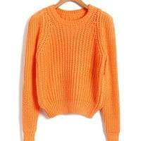 Cropped Chunky Knitted Jumper in Orange