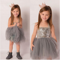 Sequins Toddler Baby Kids Girls Princess Tulle Wedding Party Gown Dress Dresses