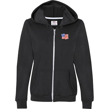 Buy Cool Shirts Ladies Waving USA Flag Full Zip Hoodie Patch Pocket Print