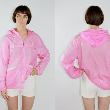 vintage 70s 80s pink rain jacket retro sweatshirt zip up hoodie raincoat track jacket medium med m