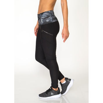 RBX Active Lumen Seamed Fashion Legging with Printed Waistband and Zip Side Pockets