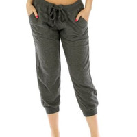Charcoal Everyday Capri Cotton Joggers w Pockets