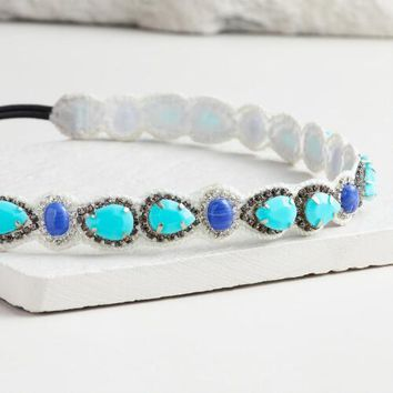 Turquoise and Blue Beaded Headband