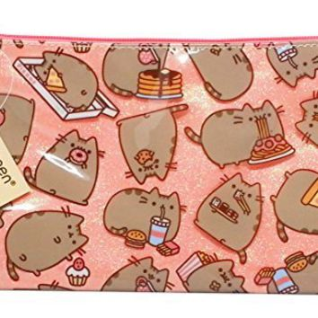 Gift For Pusheen Lover - Sparkly Pusheen Clutch Purse With Zipper