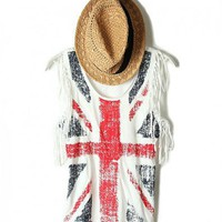 Flag Print Tanks with Fringe Detail