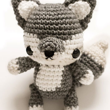 Cute Wolf Amigurumi Jointed Poseable Plush Doll Toy  - PRE ORDER