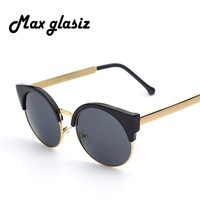 Coating Mirrored Sunglass Round Circle Lens Points Glasses Brand Designer Men lunette