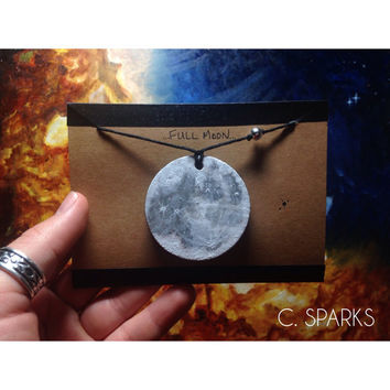 Large Full Moon Pendant with Natural Hemp Cord and Sterling Silver Bead
