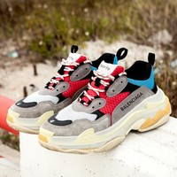 Balenciaga Trending Casual Contrast Color Sport Running Jogging Shoes Couple Sneakers Grey Red Black Blue I