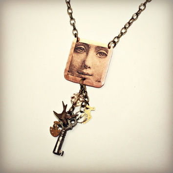 Copper and Key Necklace, Copper Pendant with Image Transfer, Vintage Cabinet Key, Bird Charm, Glass Bead, Watch Parts and Gears