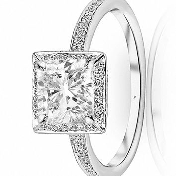 d.1.25 Ctw 14K White Gold Victorian Halo Square GIA Certified Diamond Engagement Ring Cushion Cut (1 Ct I Color VS1 Clarity Center Stone)