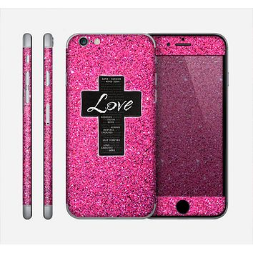 The Love is Patient Cross over Pink Glitter Print Skin for the Apple iPhone 6