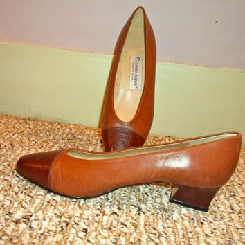 40% off Two Tone Brown Leather cap toe Etienne Aigner heels (kitten heels), 80s heels