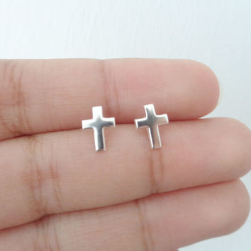 925 Silver Cross Stud Earrings. Crucifix Stud Earrings. Children Jewelry. Minimalist Jewelry. Tiny Stud Earring. Hypoallergenic Studs.