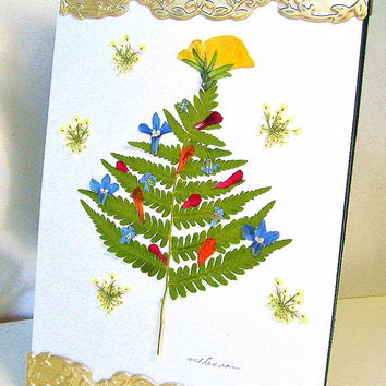 Fern Christmas tree picture, Fern holiday tree, Framed pressed flowers, Real flowers, Ferns, Queen Annes Lace, Forget me nots, Lobelia