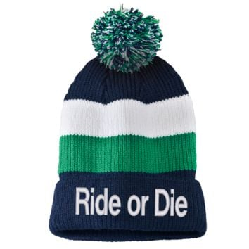 ride or die Striped Beanie with Removable Pom