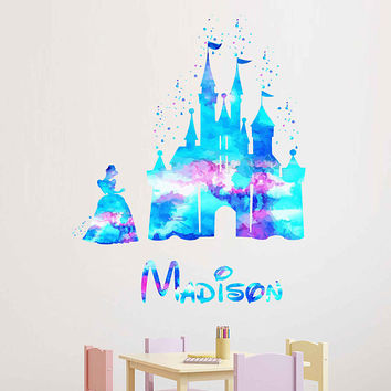 kcik1977 Full Color Wall decal Watercolor Character Disney Cinderella Sticker Disney Girl name personalized Child's name