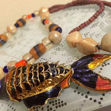 Vintage 1970's Beaded Artisan Cloisonné Articulated Fish Necklace, Indie, Hippie Necklace, Gift Boxed.