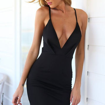 Black Strappy Lace Back with Mesh Stripe Bodycon Dress