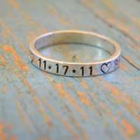 3mm Sterling Silver Custom Made Hand Stamped Personalized Mom, Mommy, Nana Stackable Family Tree Name Ring, 3mm Wide