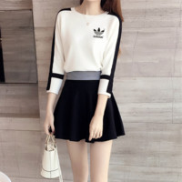 """Adidas"" Women Simple Fashion Multicolor Stripe Middle Sleeve Frills Short Skirt Set Two-Piece"