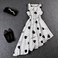 White And Black Floral Print Sleeveless Asymmetrical Dress