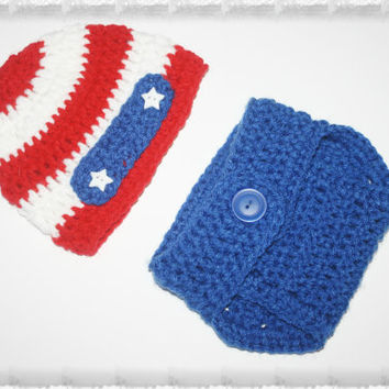 Patriotic American Red White and Blue, American Pride Baby Diaper Cover and Hat Set.