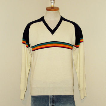 Vintage Stylish 70s RAINBOW Striped SKI V-NECK Men Women Small Medium Cream Color Acrylic Classic Pullover Sweater