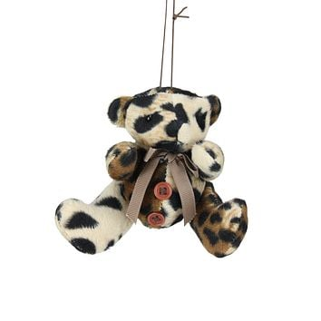 "4.5"" Diva Safari Brown Cheetah Animal Print Teddy Bear Christmas Ornament"