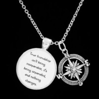 Best Friends True Friendship Long Distance Friend Sisters Compass Gift Necklace